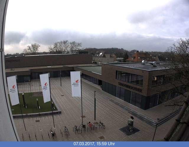 Bild zeigt den Eingangsbereich Stadthalle und Stadtbibliothek Ahaus (wird zurzeit errichtet)